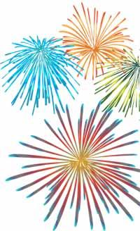 fireworks in color bursts